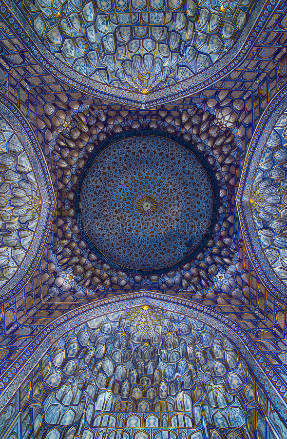 Dome of the mosque, oriental ornaments, Samarkand royalty free stock photos