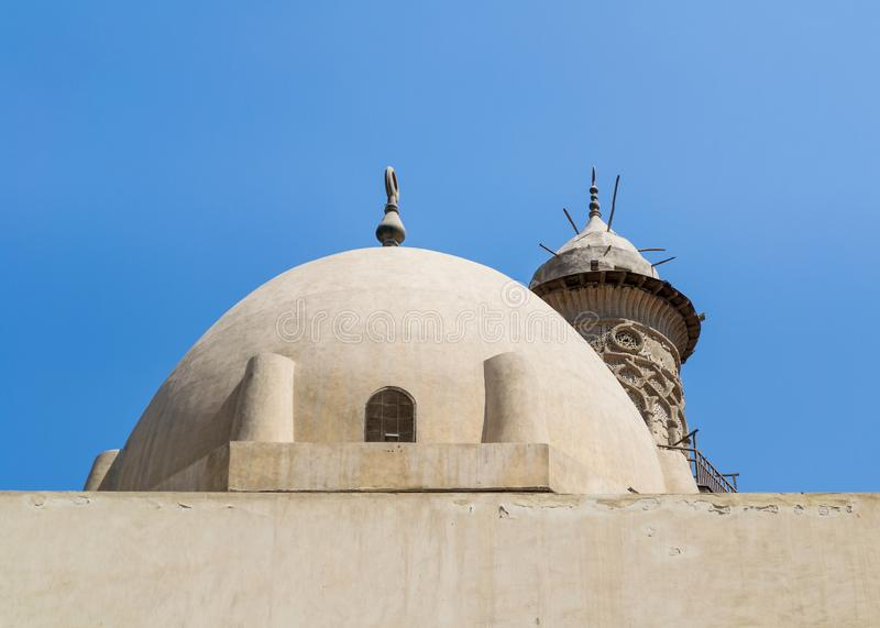 Dome at mosque of Sultan Al Nassir Qalawun revealing minaret El Zaher Barquq Mosque, Cairo, Egypt. Dome at public historic mosque of Sultan Al Nassir Qalawun royalty free stock photos
