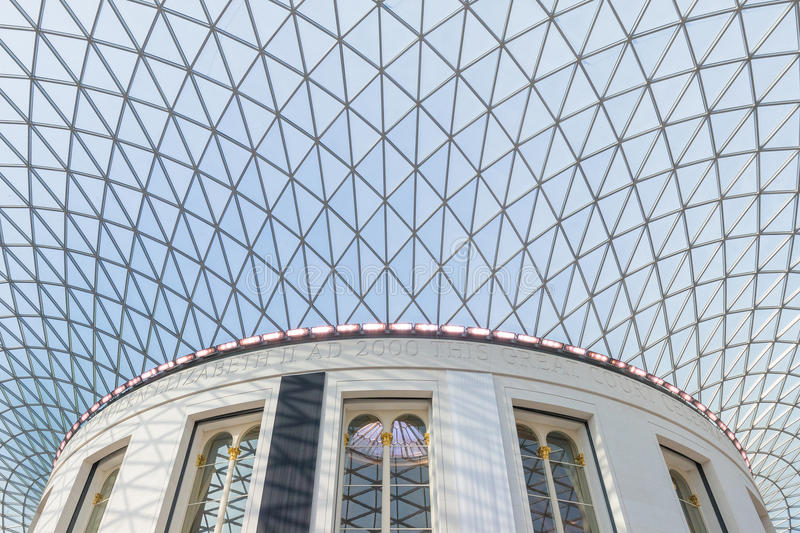 Dome at a museum. Interior view to the architecural details of the glass dome of a museum in London stock images