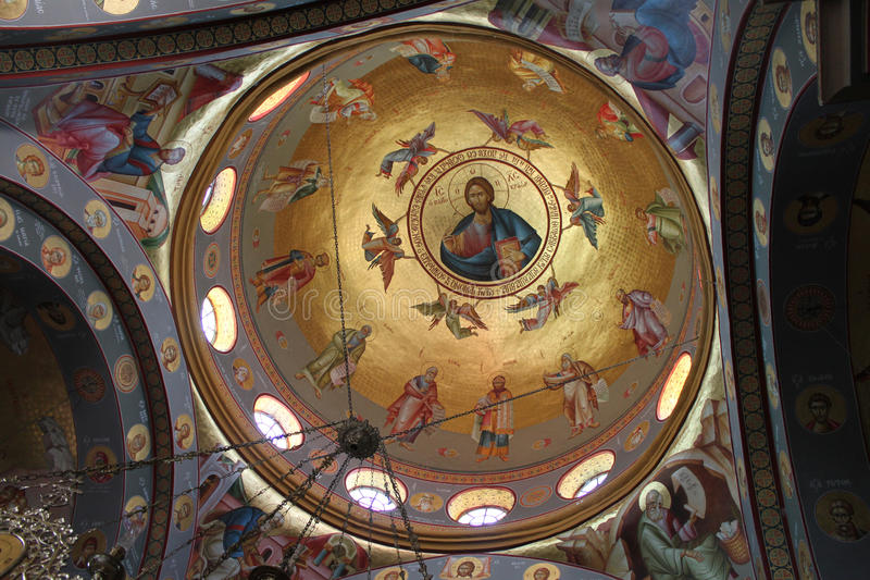 Dome of the Orthodox Church at Capernaum. Dome paintings of Jesus scenes on the Orthodox Church at Capernaum, Kfar Nachum, Israel stock photography