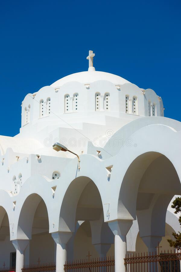 Dome of Orthodox Metropolitan Cathedral in Fira royalty free stock image