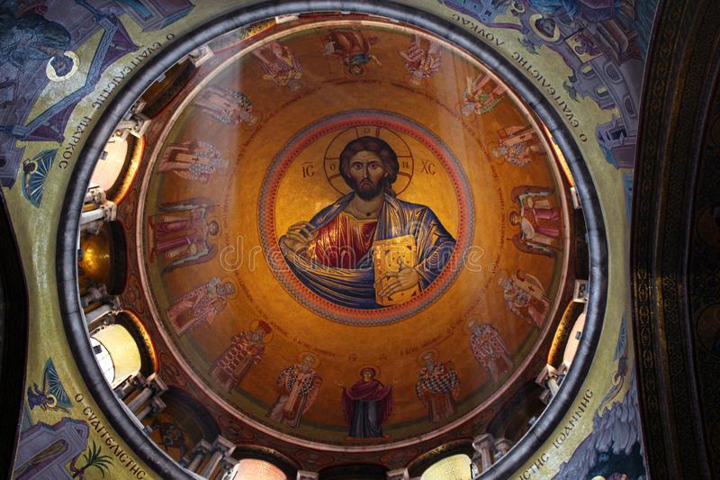 Dome over the catholicon of the Church of the Holy Sepulcher, Jerusalem stock image