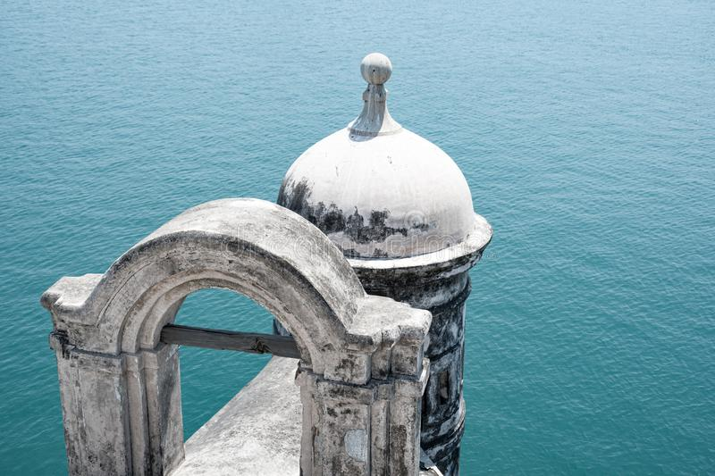 Dome over the gulf of Mexcio. Dome of the prison in Veracruz Mexico. this is part of the ruins of the San Juan de Ulua prision now this place is a museum stock image