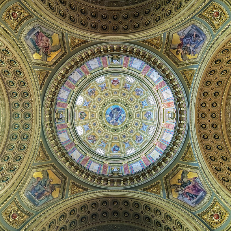 Dome painting of St. Stephen`s Basilica in Budapest, Hungary stock photography