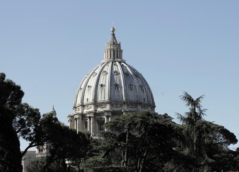 The Dome of Papal Basilica of St. Peter. In the Vatican stock photos