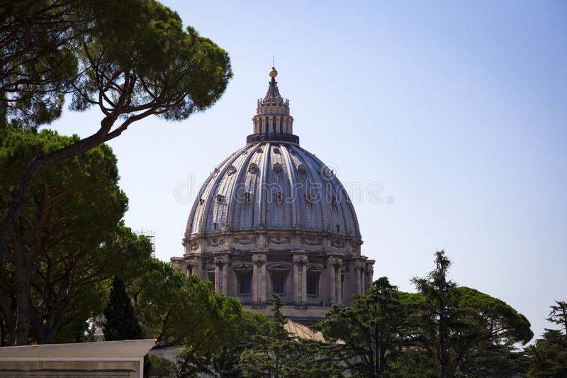 The dome of the Papal Basilica of St. Peter in the Vatican. With the famous observation deck stock photos