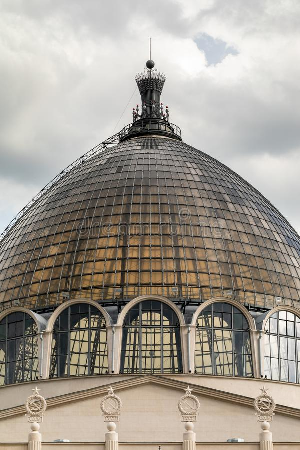The dome of the pavilion Cosmos . The largest space museum complex in modern Russia. Moscow, Russia - May 5, 2019. The dome of the pavilion Cosmos . The largest royalty free stock image