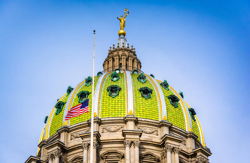 The dome of the Pennsylvania State Capitol in Harrisburg, Pennsylvania. The dome of the Pennsylvania State Capitol in Harrisburg, Pennsylvania stock photo