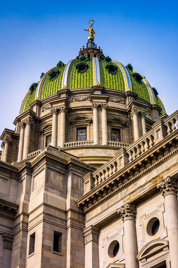 The dome of the Pennsylvania State Capitol in Harrisburg, Pennsylvania. The dome of the Pennsylvania State Capitol in Harrisburg, Pennsylvania stock photography
