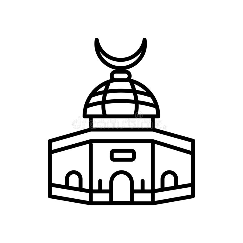 Dome of the Rock icon vector isolated on white background, Dome of the Rock sign , line or linear sign, element design in outline stock illustration