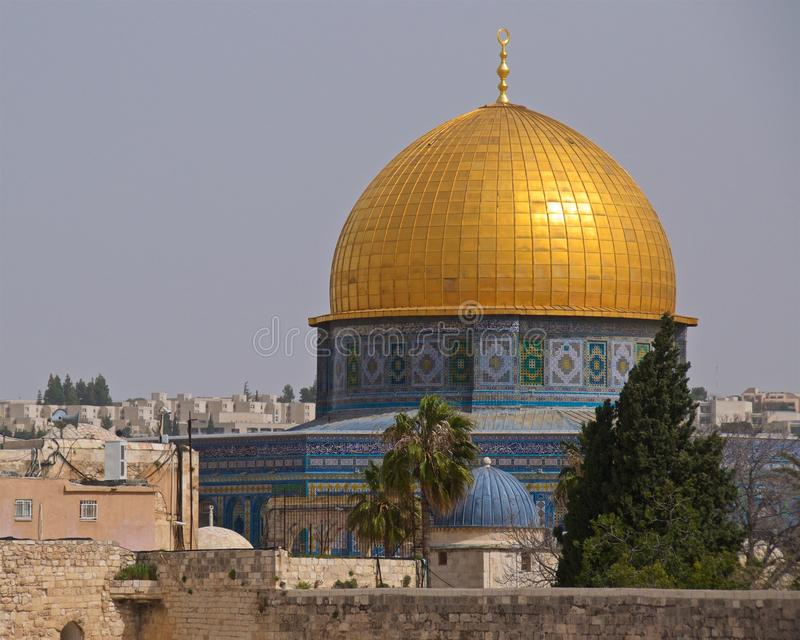 Dome of the Rock is an Islamic shrine located on the Temple Mount in the Old City of Jerusalem, Israel royalty free stock photography