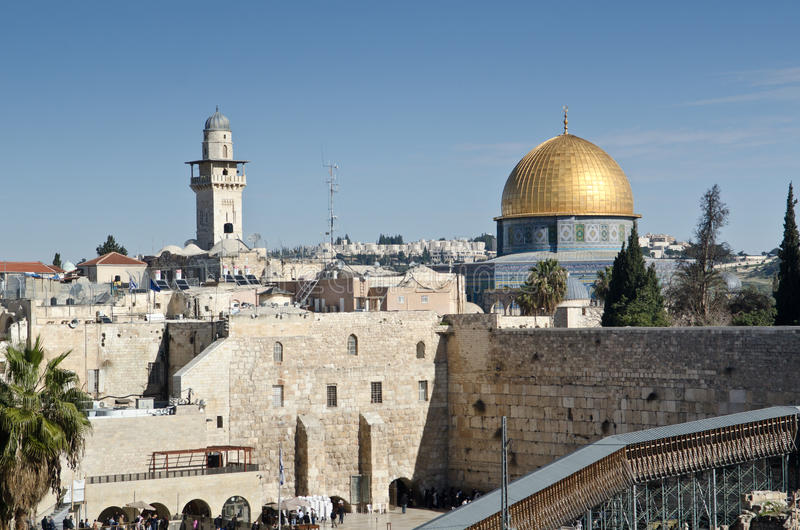 Dome of the rock in Jerusalem. Jerusalem, The Western Wall and the Dome of the Rock stock photo