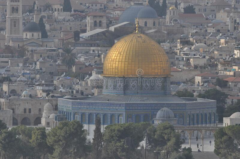 Dome of the Rock. Omar`s Mosque. Muslim temple in the ancient city of Jerusalem in Israel. Place of prayer of the followers of. Dome of the Rock. Omar`s Mosque stock photo