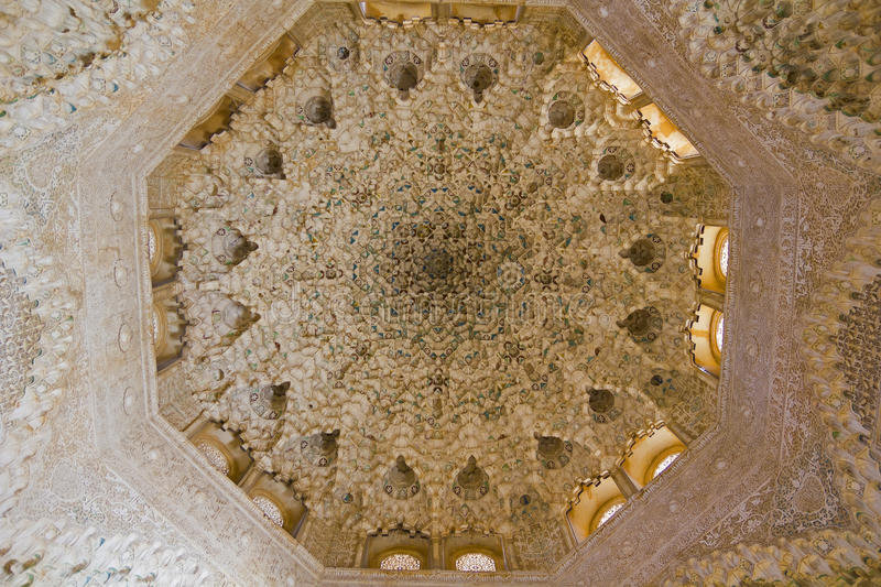 Dome of the room Two Sisters. Fourteenth century. Alhambra, Granada, Spain stock photo