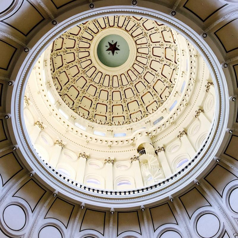 The dome in the rotunda of the State Capital Building in Austin Texas stock images