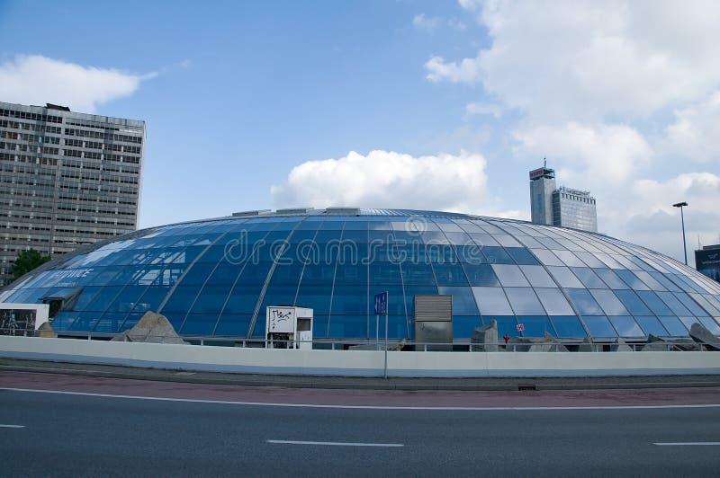 The Dome on Roundabout - Eye city - Katowice. Katowice – the dome on the General J. Ziętek - Eye city - Poland , Spodek , Soucer royalty free stock photos