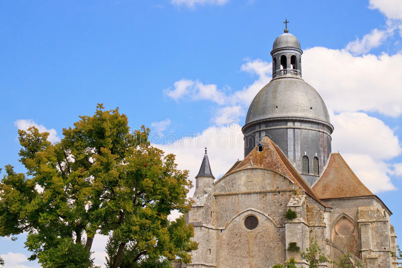 Dome of The Saint-Quiriace Collegiate church. Erected in the XIIth century, it has never been completed due to the French kingdom's financial difficulties under royalty free stock photos