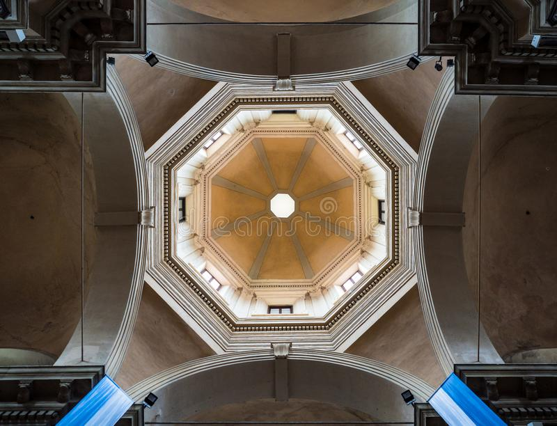 Dome seen from the central nave of the Basilica of Santa Maria i royalty free stock photos