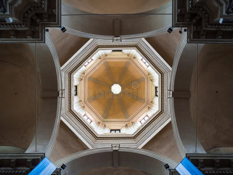Dome seen from the central nave of the Basilica of Santa Maria i royalty free stock photo