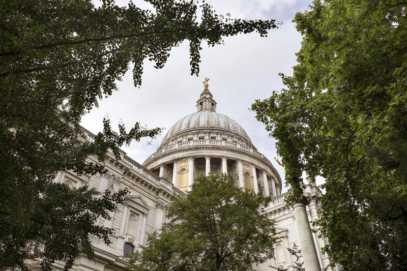 Dome of St Paul's Cathedral Seen Through the Trees stock images