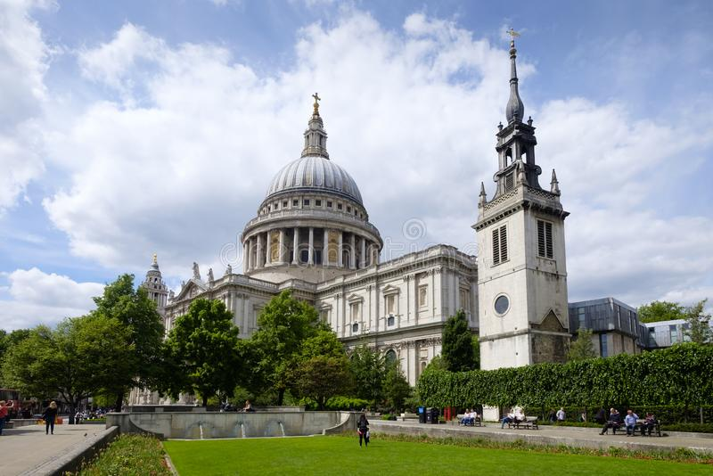 Saint Paul`s cathedral, London, Architectural masterpiece of Christopher Wren royalty free stock image