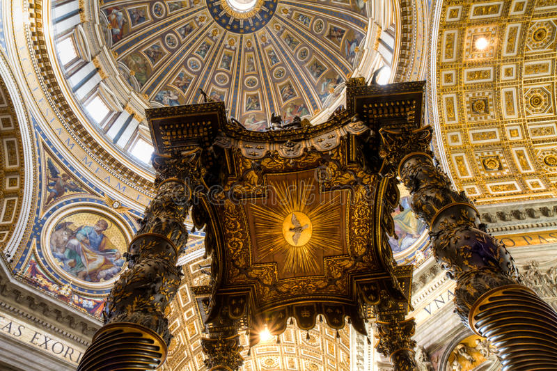Dome of St. Peter's Basilica. ROME, ITALY - December 20, 2014: The dome of St. Peter's rises to a total height of 136.57 metres. It is the tallest dome in the stock photo