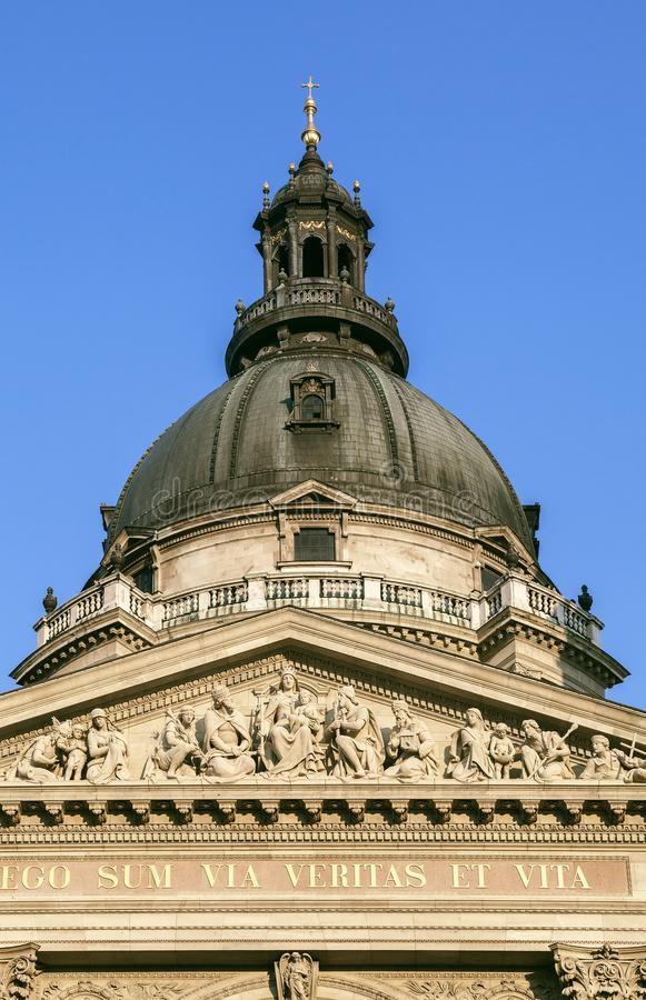 Dome of St. Stephen`s Basilica in Budapest royalty free stock photo