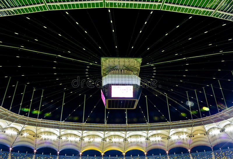 Dome stadium. National Arena stadium dome at night,Bucharest royalty free stock images