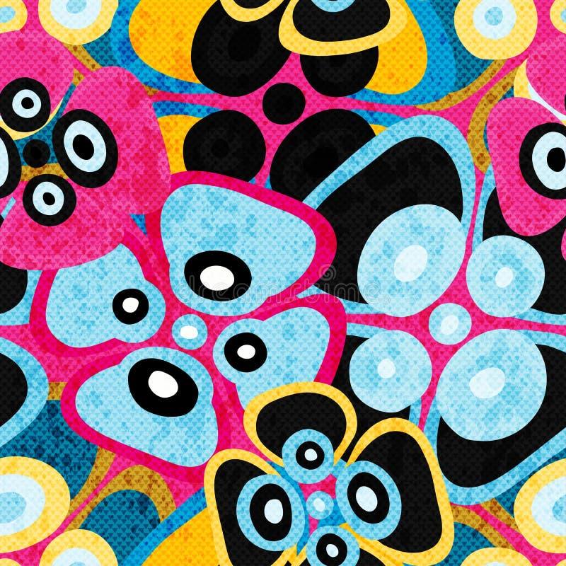 Dome a textura sem emenda colorida do grunge do teste padrão das flores abstratas ilustração stock