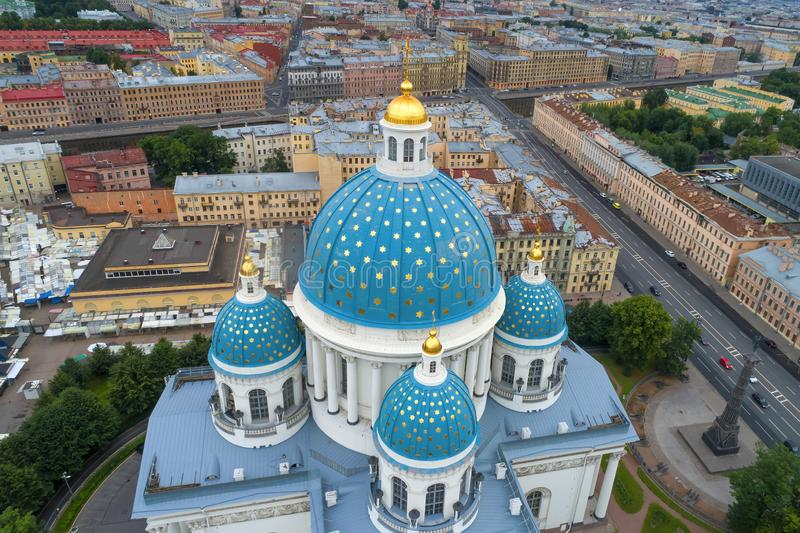 Dome of the Trinity Cathedral shot from a quadrocopter. Saint-Petersburg, Russia stock photography