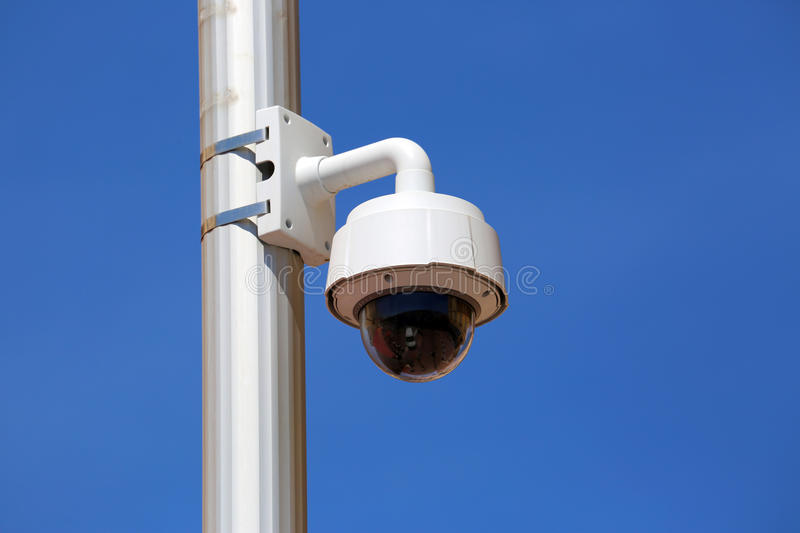 Dome Type Camera in Nice. Dome Type Outdoor CCTV Camera on Street Lamp in Nice, France royalty free stock image
