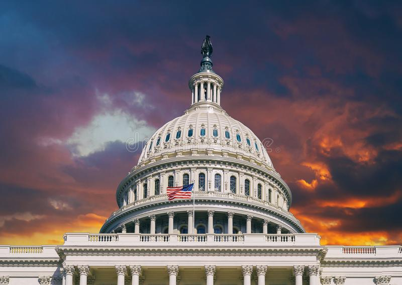 Dome of the US Capitol in Washington, DC. Sunset sky over the US Capitol building dome in Washington DC royalty free stock image