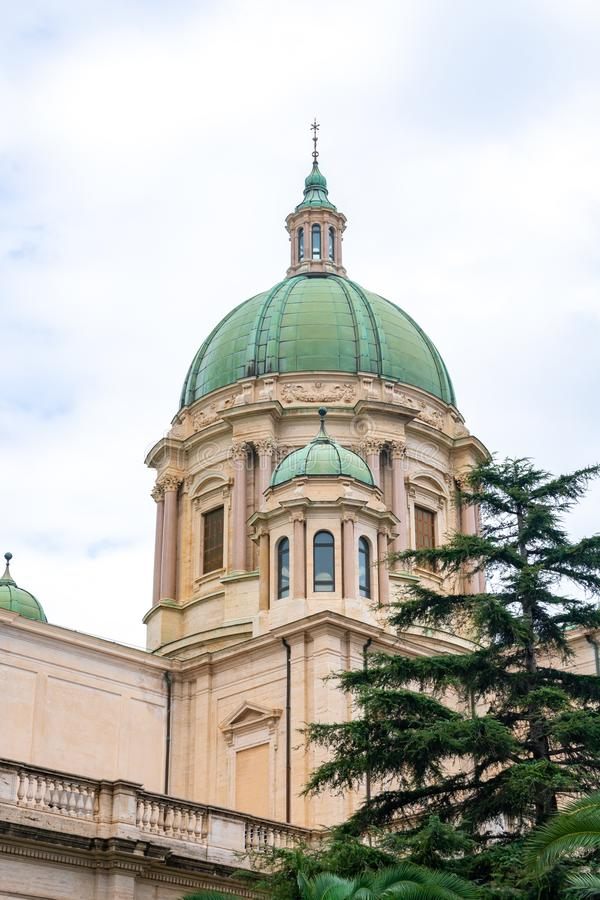 Dome of the Virgin of the Rosary Church in historical town Pompei, Italy. Religion royalty free stock image