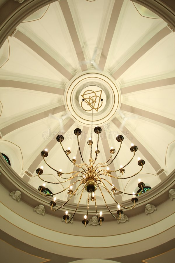 Domed ceiling and chandelier royalty free stock images