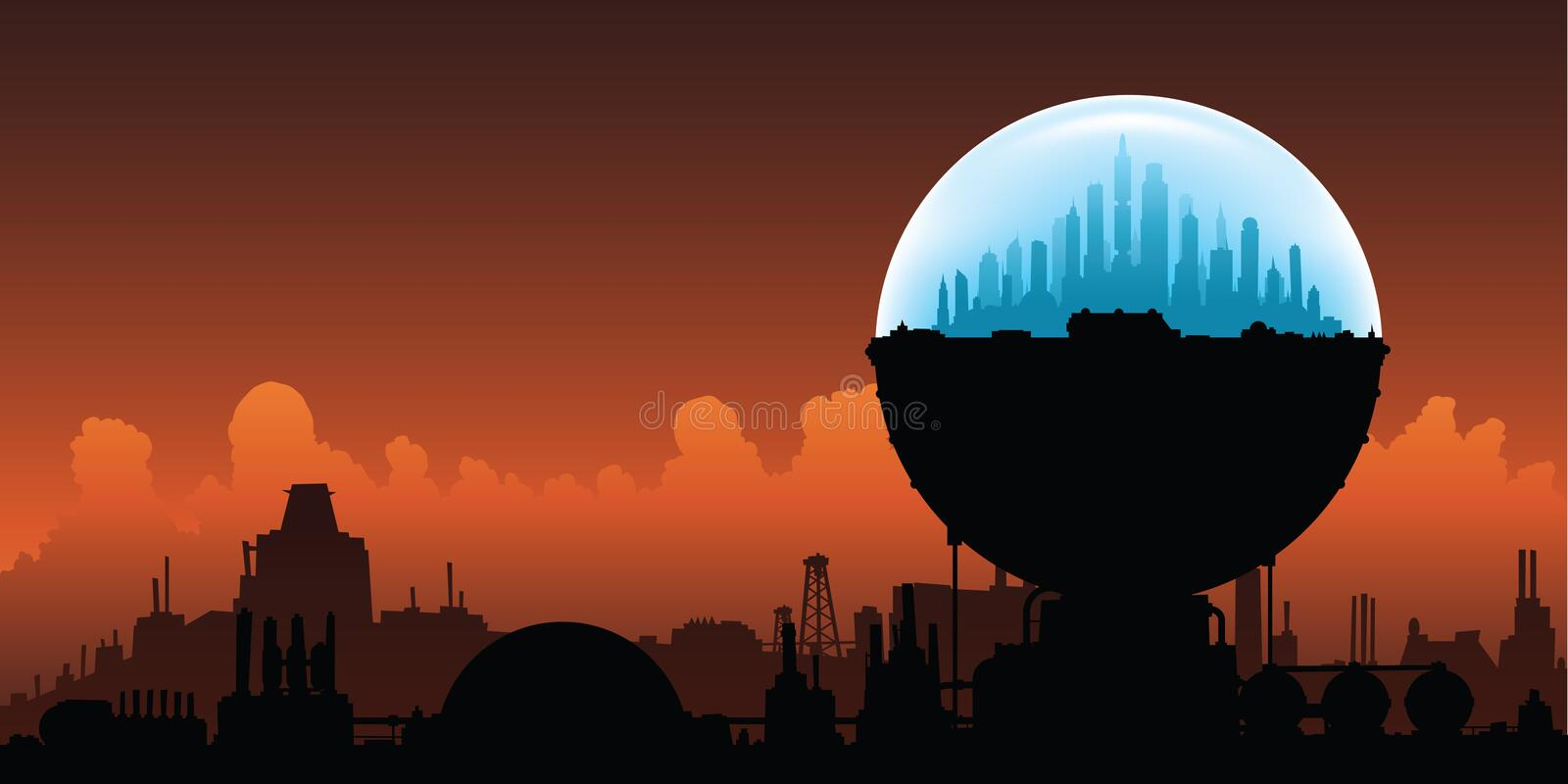 Domed Oasis in Desolation. A domed city is an oasis on a planet destroyed by climate diasaster royalty free illustration