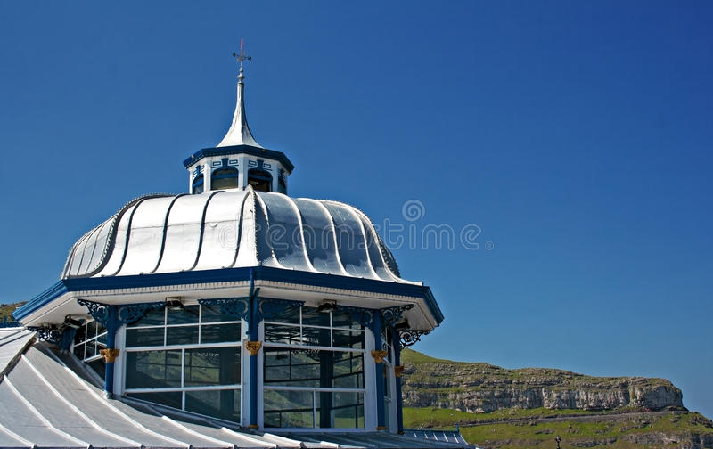 Domed roof on the end of Llandudno pier stock image
