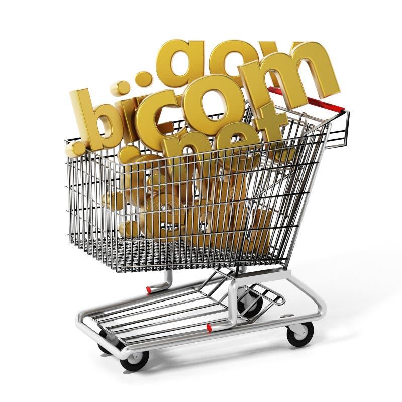 Domeinnamen binnen boodschappenwagentje 3D Illustratie stock illustratie