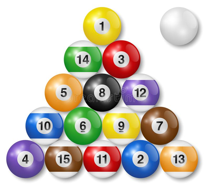 Billiard, pool balls collection. Triangle arrangement. White background. High quality, photorealistic vector illustration. royalty free illustration