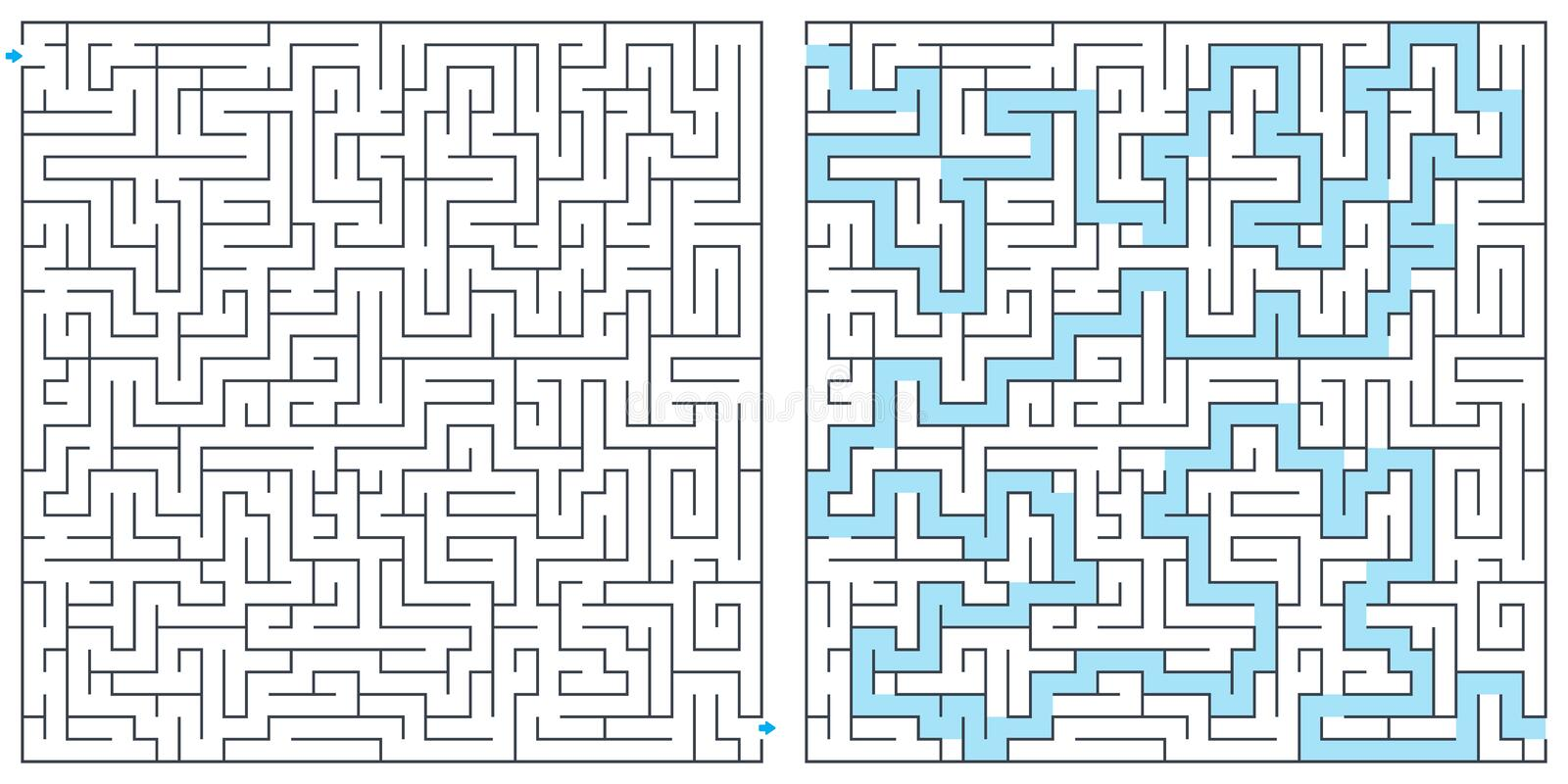Labyrinth, maze with solution vector illustration. Square maze. High quality vector. vector illustration