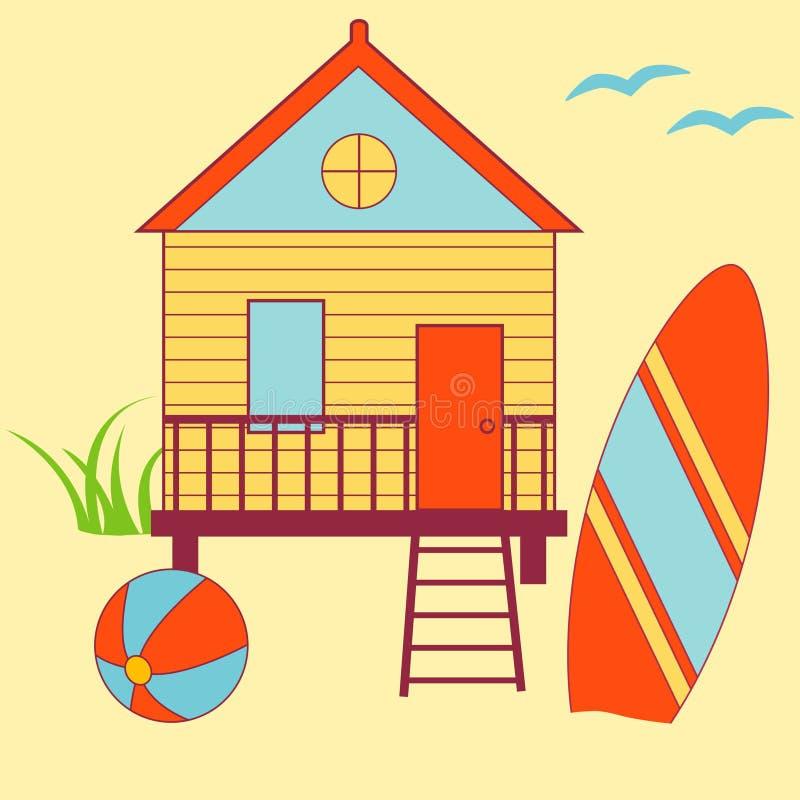 domek na plaży ilustracji
