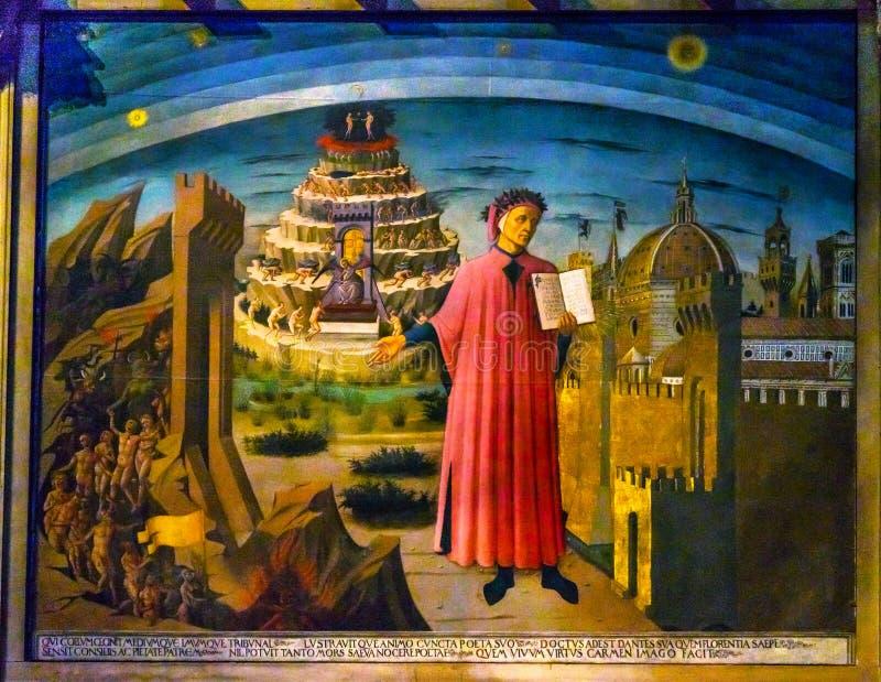Michelino Dante Divine Comedy Painting Duomo Cathedral Florence. Domenico di Michelino Dante Divine Comedy Painting Duomo Cathedral Santa Maria del Fiore Church stock photos