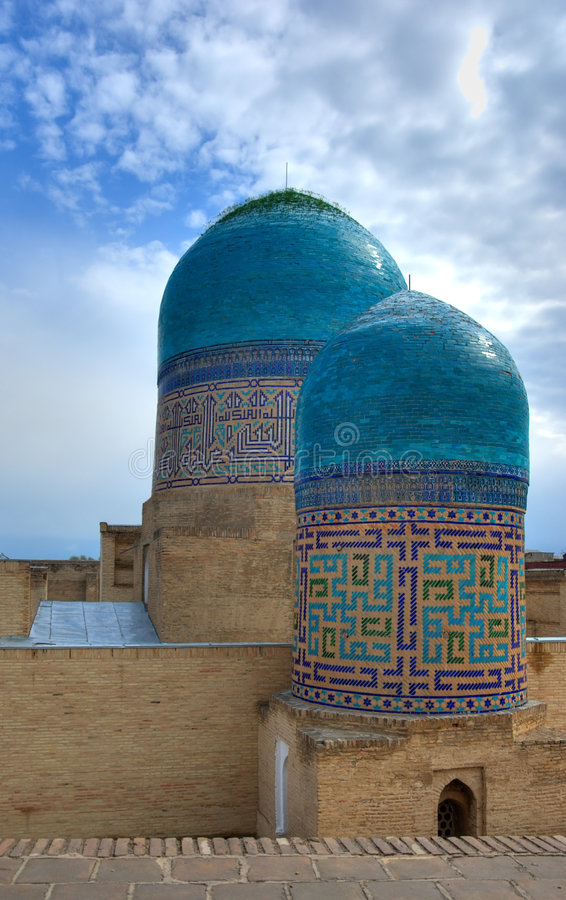 The domes of ancient Moslem mausoleum. The domes of old Moslem mausoleum in Samarkand, Uzbekistan stock images