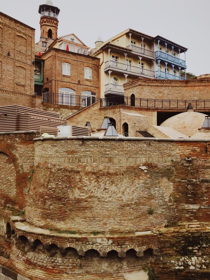 Domes of ancient sulphur baths in Tbilisi, Georgia. Abanotubani is the ancient district of Tbilisi, Georgia, known for its sulfuric baths. Abanotubani is located royalty free stock photos