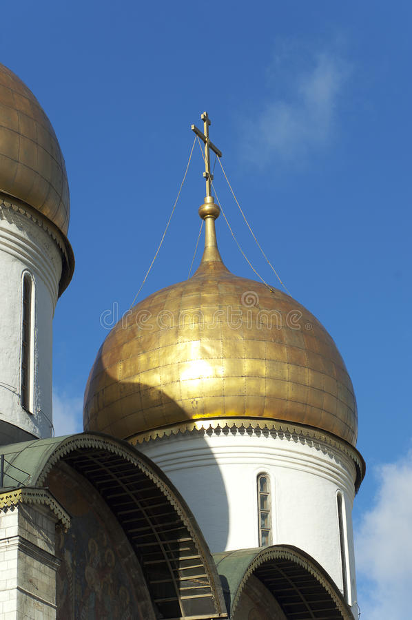 Domes of Assumption Cathedral. Moscow stock photos