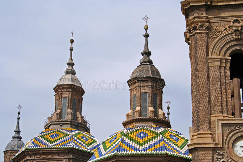 Domes of the Basilica del Pilar. Detail of the domes of the Basilica del Pilar in Saragossa, Spain stock image