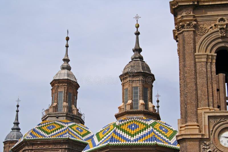 Domes of the Basilica del Pilar stock image