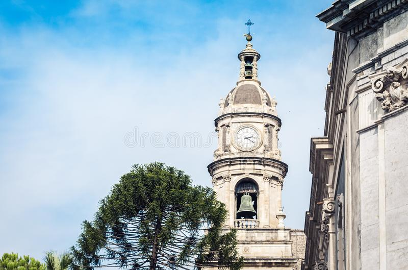 Domes of the Cathedral dedicated to Saint Agatha. The view of the city of Catania, Sicily, Italy.  royalty free stock image