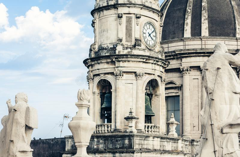 Domes of the Cathedral dedicated to Saint Agatha. The view of the city of Catania, Sicily, Italy.  royalty free stock photography