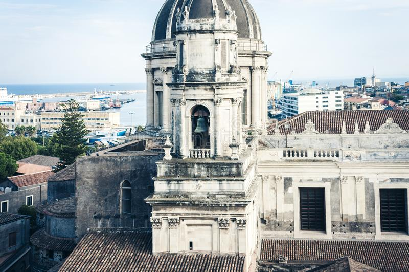 Domes of the Cathedral dedicated to Saint Agatha. The view of the city of Catania, Sicily, Italy.  stock image