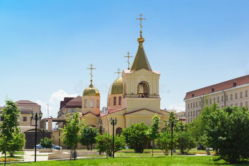 Domes of the Church of Archangel Michael on the Avenue named after Akhmat Kadyrov in Grozny. Christianity in a Muslim country royalty free stock photography